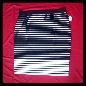 Reitmans Black and White Striped Midi